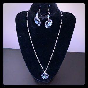 Blue 2028 Sliver Tone Necklace & Earring Set